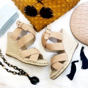 Joie Nude Beige Strappy Espadrille Wedge Sandals